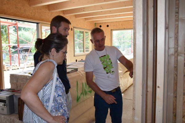 Buchner Baustellenbesichtigung Gerüst Holzhaus